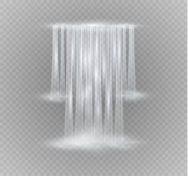 Realistic transparent, nature, stream of waterfall with clear water isolated.