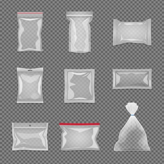 Realistic transparent package set in different shape isolated