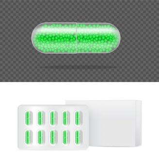 白い背景の図の現実的な透明な錠剤薬カプセルパネル。錠剤の医療と健康の概念。