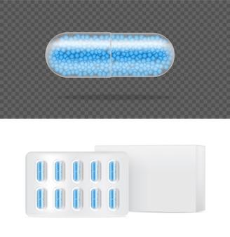 現実的な透明な錠剤薬カプセルパネルタブレット医療と健康の概念。