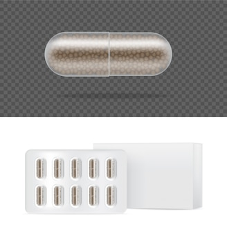 白い背景の上のボックスと現実的な透明なピル薬カプセルパネル。タブレット医療と健康の概念。