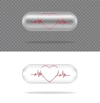 白い背景の上のハートと現実的な透明なピル薬カプセルパネル。タブレット医療と健康の概念。