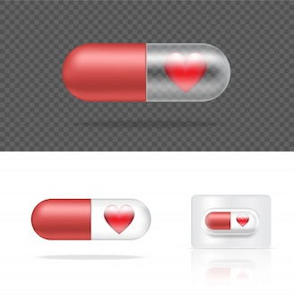 Realistic transparent pill medicine capsule panel with heart