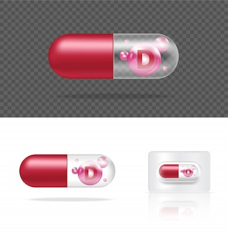 Realistic transparent pill vitamin d medicine capsule panel on white background  illustration. tablets medical and healthcare concept.