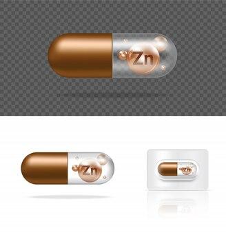 現実的な透明な錠剤ビタミンzn薬カプセルパネルイラスト。錠剤の医療とヘルスケアの概念。