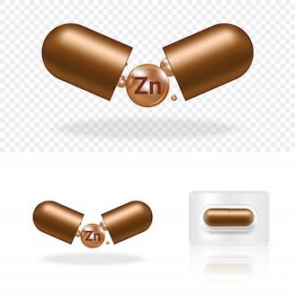 白図の現実的な透明な丸薬ビタミンzn薬カプセルパネル。錠剤の医療とヘルスケアの概念。