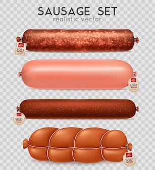 Realistic transparent sausage set