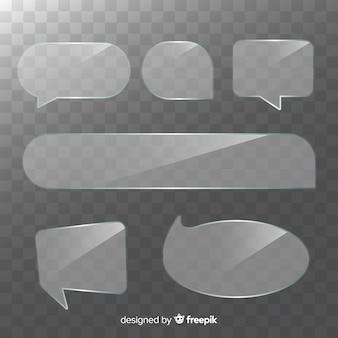 Realistic transparent speech bubble collection