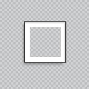 Realistic transparent square photo frame