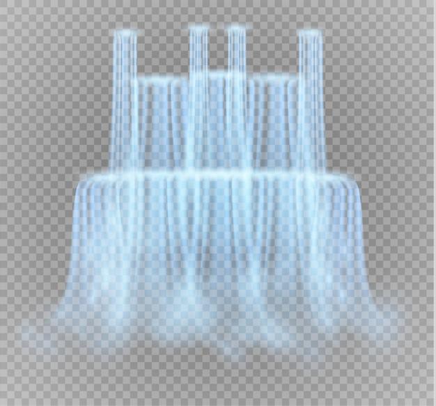Реалистичные прозрачный, поток водопада с чистой водой и пузыри, изолированные на прозрачном фоне.