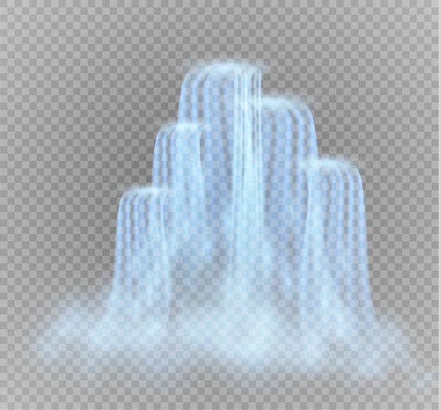Realistic transparent, stream of waterfall with clear water and bubbles isolated on transparent background.