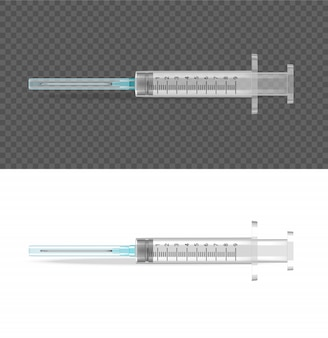 Realistic transparent syringe medical object tool