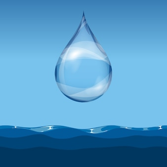 Realistic transparent water drop water leve