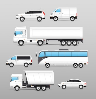 Realistic transport icons set