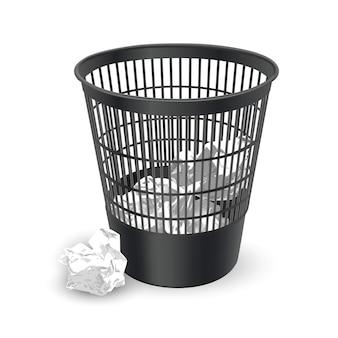 Реалистичная корзина для мусора с мятой офисной бумагой внутри, контейнер для офисной бумаги, иллюстрация