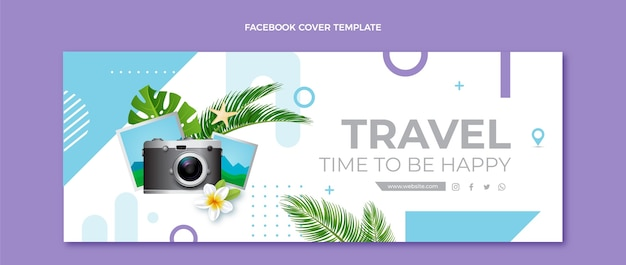 Realistic travel facebook cover with camera