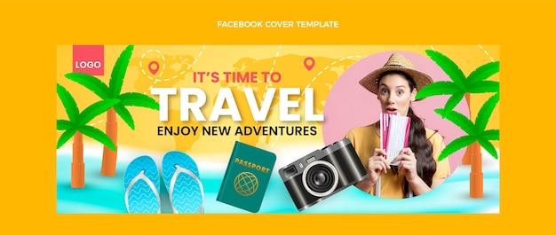 Realistic travel facebook cover