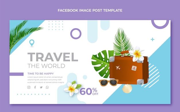 나뭇잎이 있는 현실적인 여행 페이스북 게시물