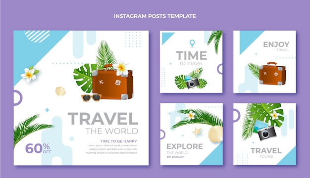 Realistic travel instagram post collection