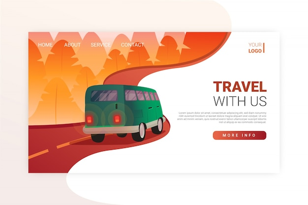 Realistic travel landing page template