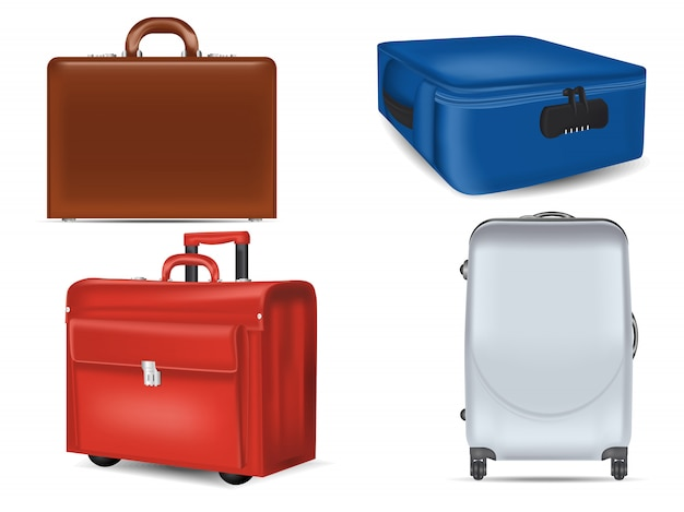 Realistic travel suitcases   set.