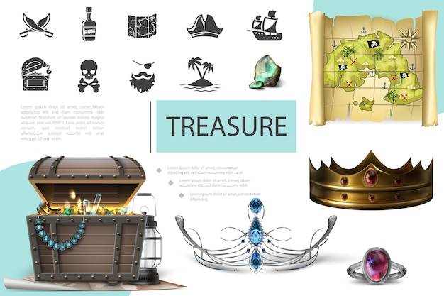Realistic treasures composition with chest full of gold coins lantern and jewelry diadem crown ring ornate with gems pirate map and icons