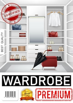 Realistic trendy wardrobe room poster with closet full of shelves hangers drawers shirt umbrella bags shoes mirror stool boxes for accessories
