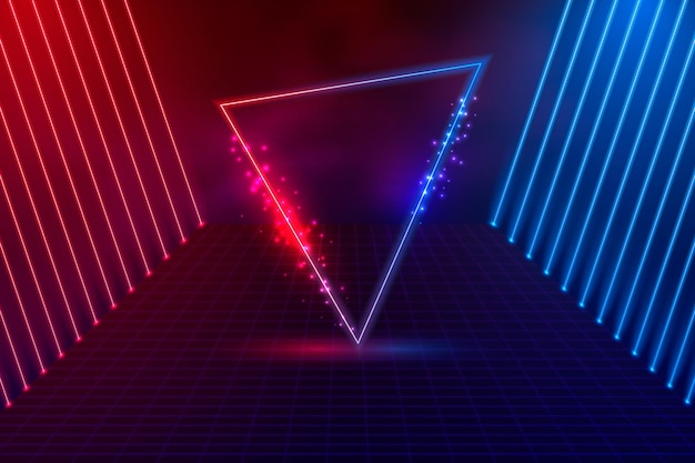 リアルな三角形のネオンライトの背景