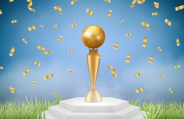 Realistic trophy. sport gold award on grass with falling confetti