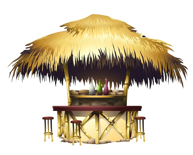 Realistic tropical bungalow bar