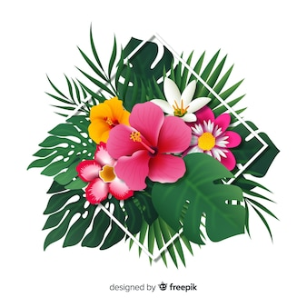 Realistic tropical flowers and leaves