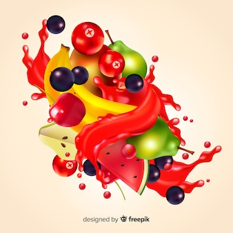 Realistic tropical fruits juice background