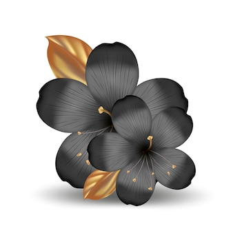 Realistic tropical hawaiian black and gold flowers