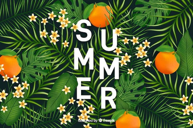 Realistic tropical hello summer background