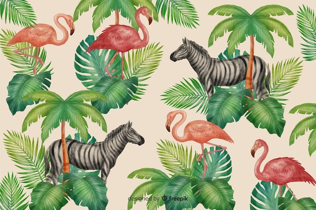 Realistic tropical leaves and animals background