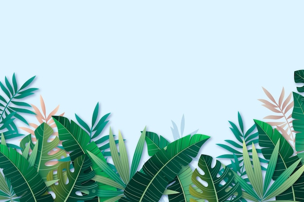 Realistic tropical leaves background