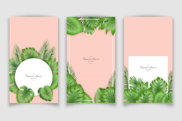 Реалистичный тропический баннер с листьями