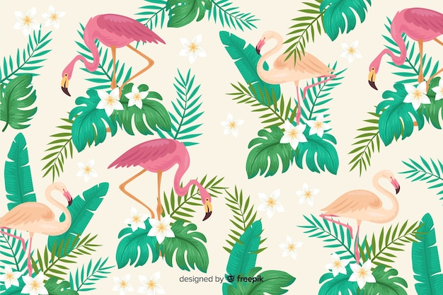 Realistic tropical leaves and birds background
