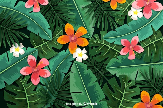 Realistic tropical leaves and flowers background