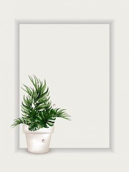 Realistic tropical leaves in a white pot. white mockup with copy space.