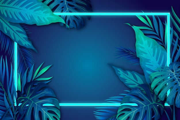 Realistic tropical leaves with neon frame with copy space