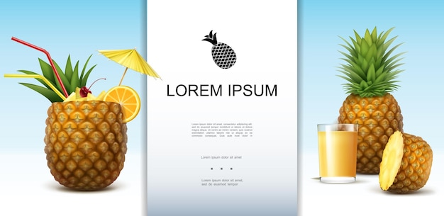 Realistic tropical pineapple template with whole and half of healthy fruit glass of natural juice pineapple cocktail