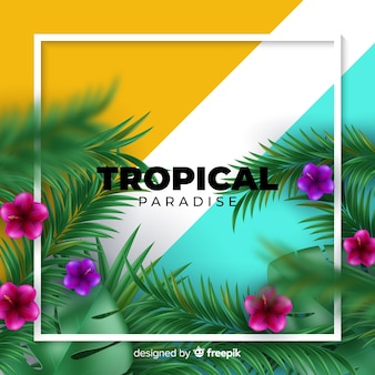 Realistic tropical plants background