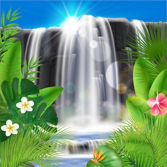 Realistic tropical waterfall with leaves and flowers illustration