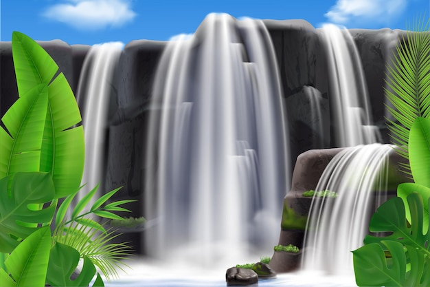 Realistic tropical waterfall with leaves illustration