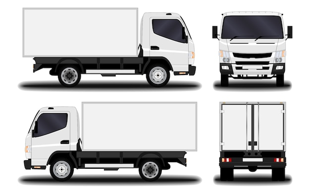 現実的なトラック。正面図;側面図;背面図。