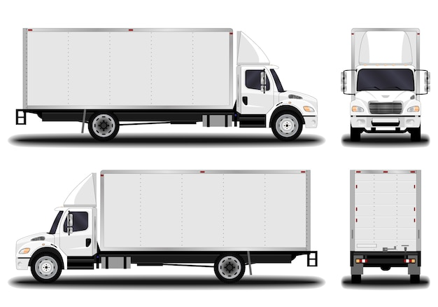 Realistic truck. front view; side view; back view.