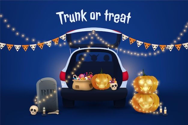 Realistic trunk or treat background