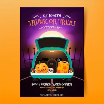 Realistic trunk or treat vertical poster template