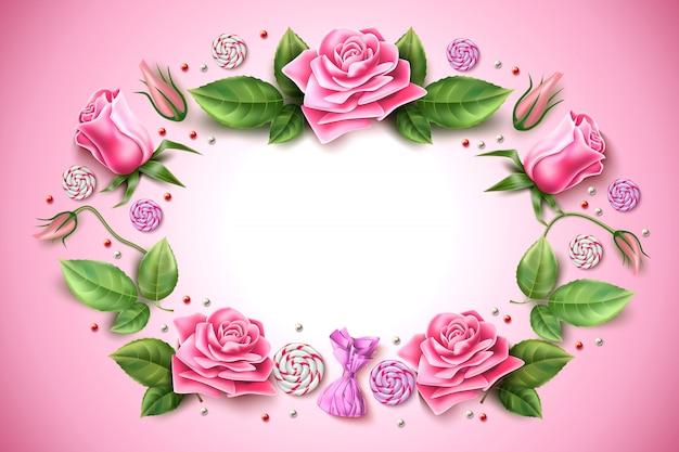현실적인 튤립 분홍색 배경에 잎 temaplte와 모란 꽃 장미